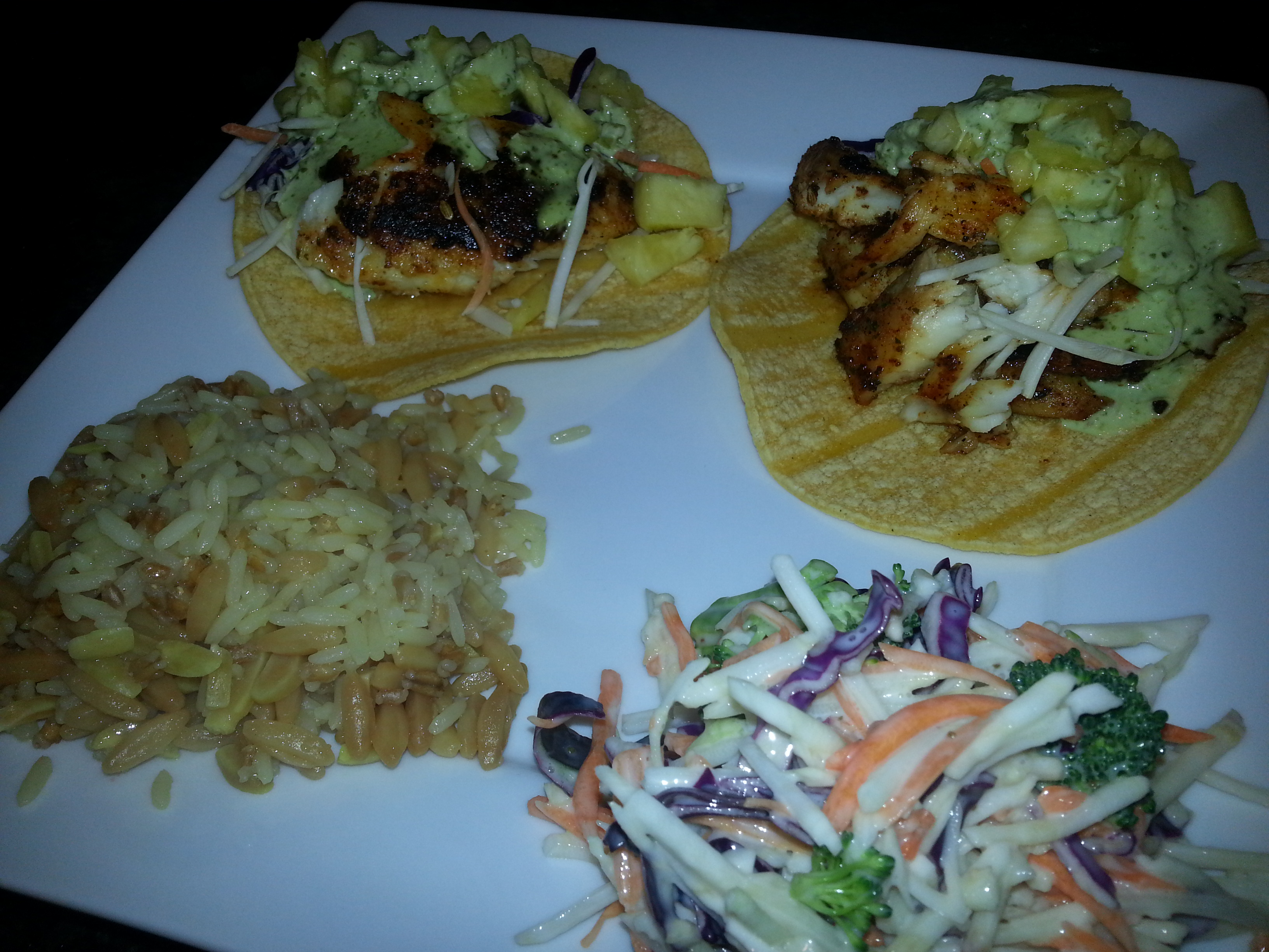 2 tacos served with 1/2 C rice and 1/2 C coleslaw